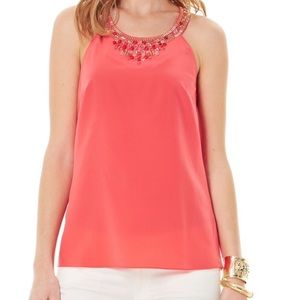 Lilly Pulitzer Silk Beaded Top Tank Size XS
